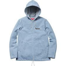 Supreme Denim Hooded Coaches Jacket Light Indigo