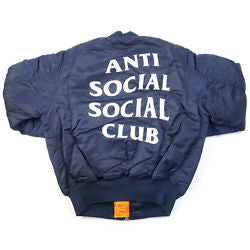 Anti Social Social Club x ALPHA INDUSTRIES FEEL U 4 ME MA1 JACKET NAVY