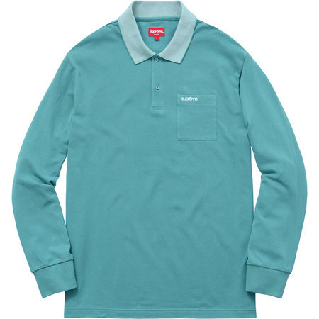 Supreme Checker Rib Long Sleeve Polo Pale Teal