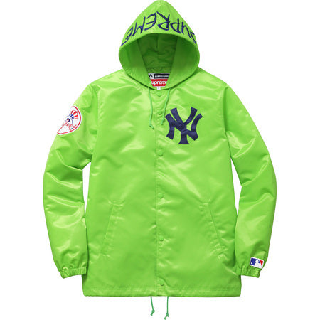 low priced 2c8c3 b67a7 Supreme / New York Yankees 47 Brand Satin Hooded Coaches Jacket Green