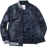 Supreme / New York Yankees 47 Brand Leather Varsity Jacket Navy