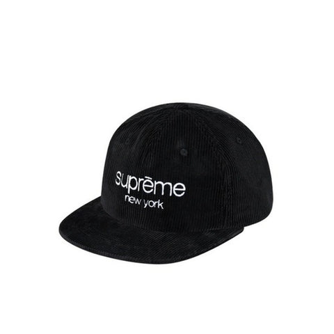 Supreme Cord Classic Logo 6-Panel Hat Black