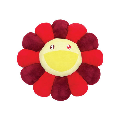 TAKASHI MURAKAMI FLOWER PLUSH CUSHION (RED/BURGUNDY) 12 INCH