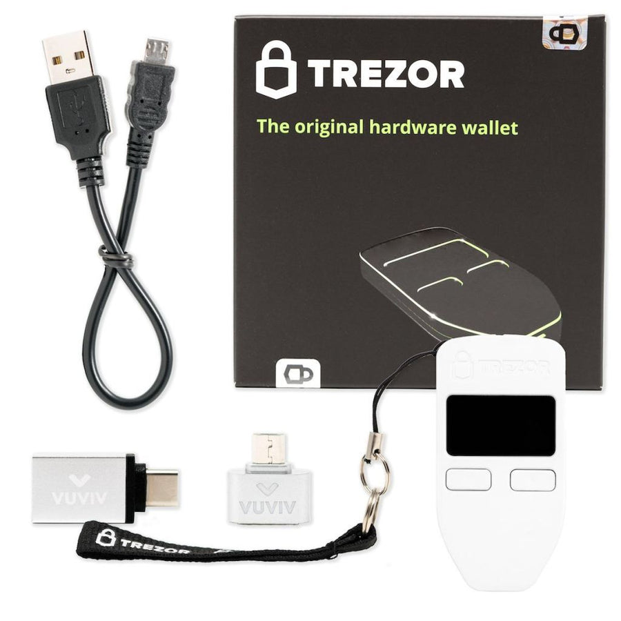Trezor (White) Adapter Bundle Hardware Wallet