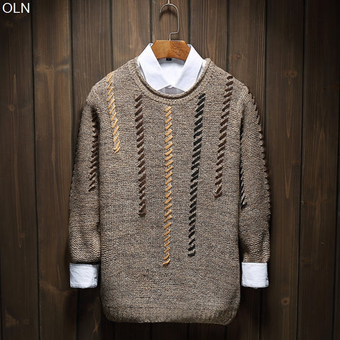 2017  ancient ways round collar Hand-woven sweaters men's clothing of cultivate one's morality boom lacing sweater