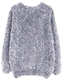 Abetteric Womens Casual Solid Baggy Mohair Knit Pullover Sweaters
