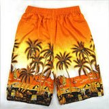 Men Beach Shorts Coconut Palm Tree Printed Elastic Waist