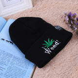 Unisex Winter Cap Embroidery Maple Leaf I WEED Knit Hat 2017 New Brand Hip Hop Skullies Beanies For Men Women Warm Couples Cap