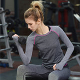 Women Fitness Shirts Professional Sports Long Sleeve Workout Gym Yoga Running T-shirt Exercise Training Elastic Tops
