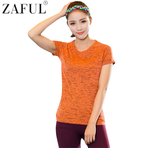 ZAFUL Women Running Training Elastic Sportwear Yoga Shirt Quick Dry Breathable Sport Shirt Gym Fitness Tops Print T-Shirt