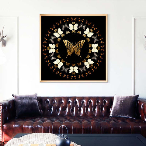 Butterfly Crystal Art Print with Gold Aluminum Floater Frame