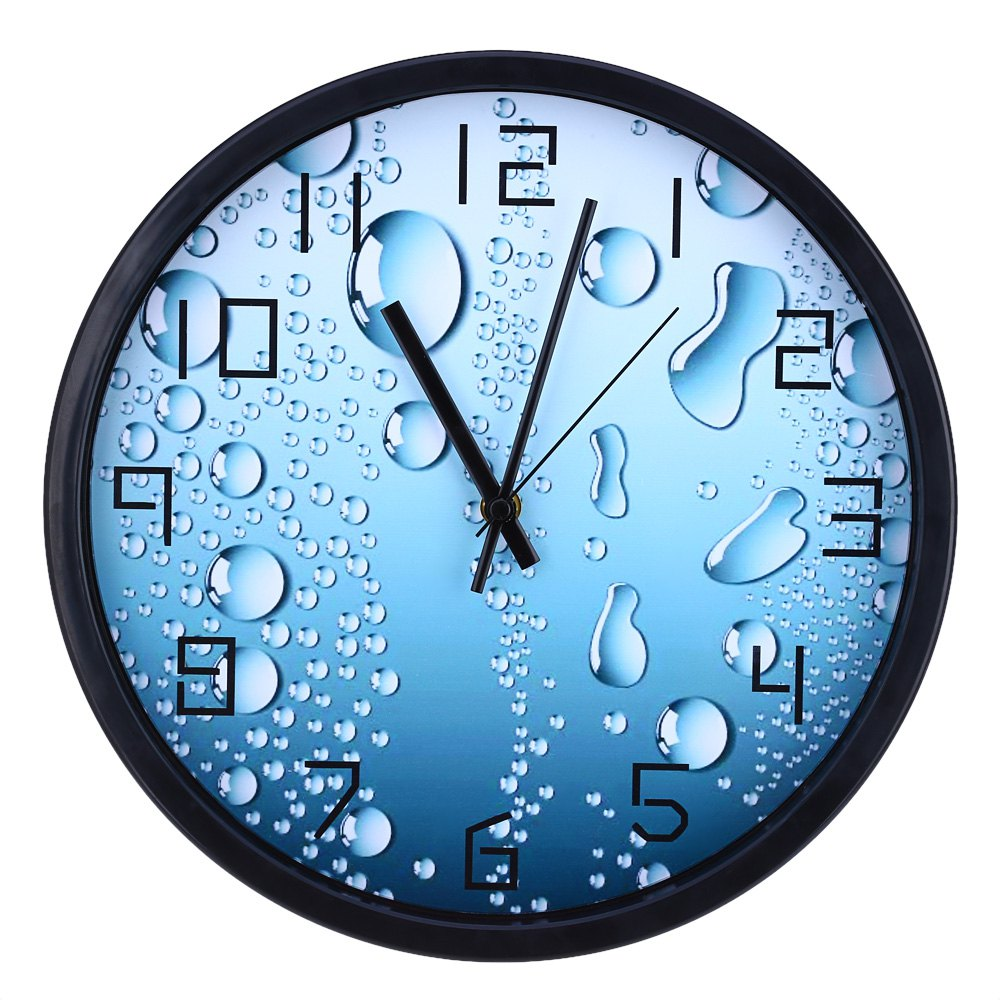 12 Inches Home Decor Modern Digital Clock 3D Silent Water Drop Pattern Single Face Anti-fog glass metal pointer Wall Clock