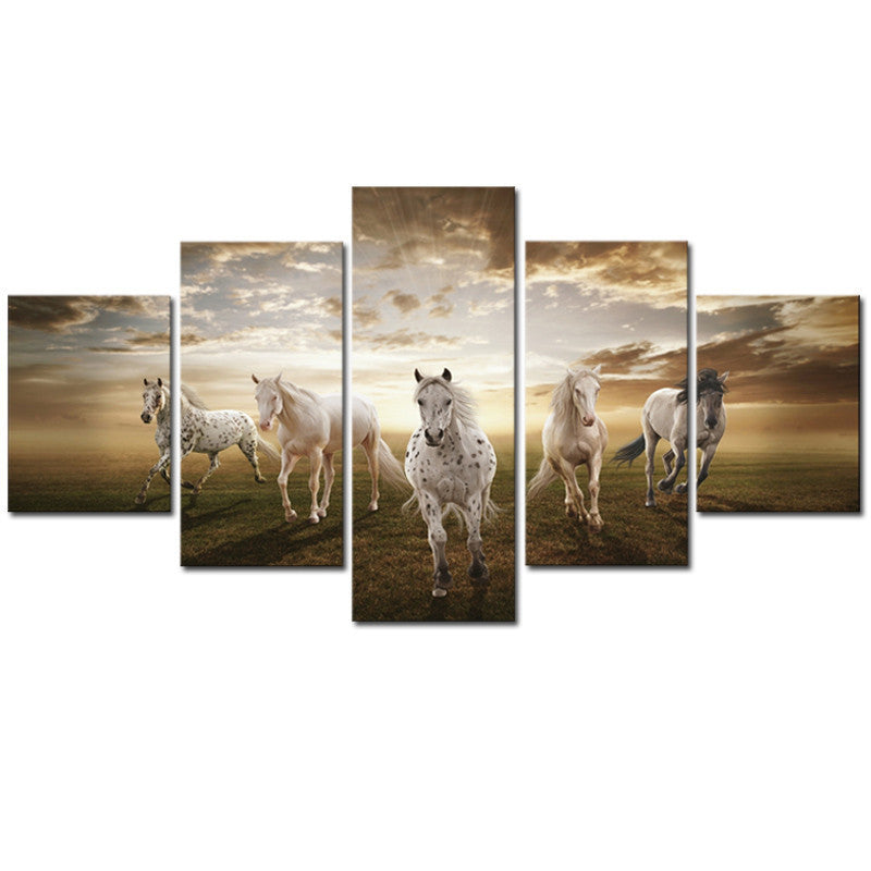 Unframed 5 pcs High Quality Art Pictures Running Horse Large Modern Home Wall Sticker Decor Abstract Canvas Print Oil Painting