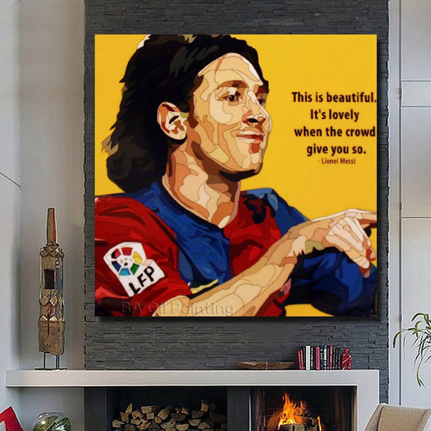 Lionel Messi Football Star Poster ,With Framed 100% Handmade Canvas Oil Painting Wall Art, Ready To Hang ,RW398
