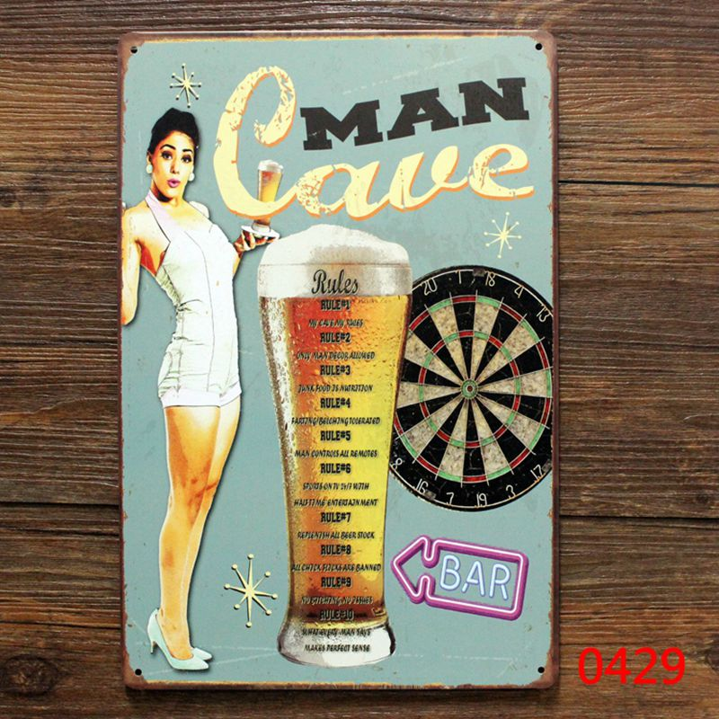 Man cave rules retro metal beer tin sign for Bar pub home wall decoration retro sign art poster man cave
