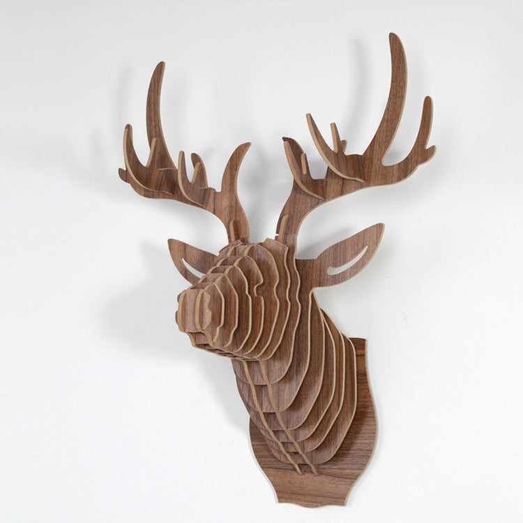 Deer Head Wood Sculpture, Animal Wood Decoration Crafts, Wooden DIY Model Wall Hanging