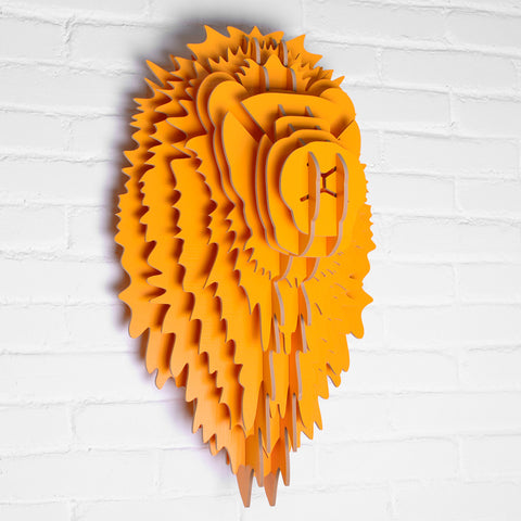 9 Colors Simple Modern Nordic Style Wood Lion Head Wall Hanging Sculpture For Home Creative Decoration