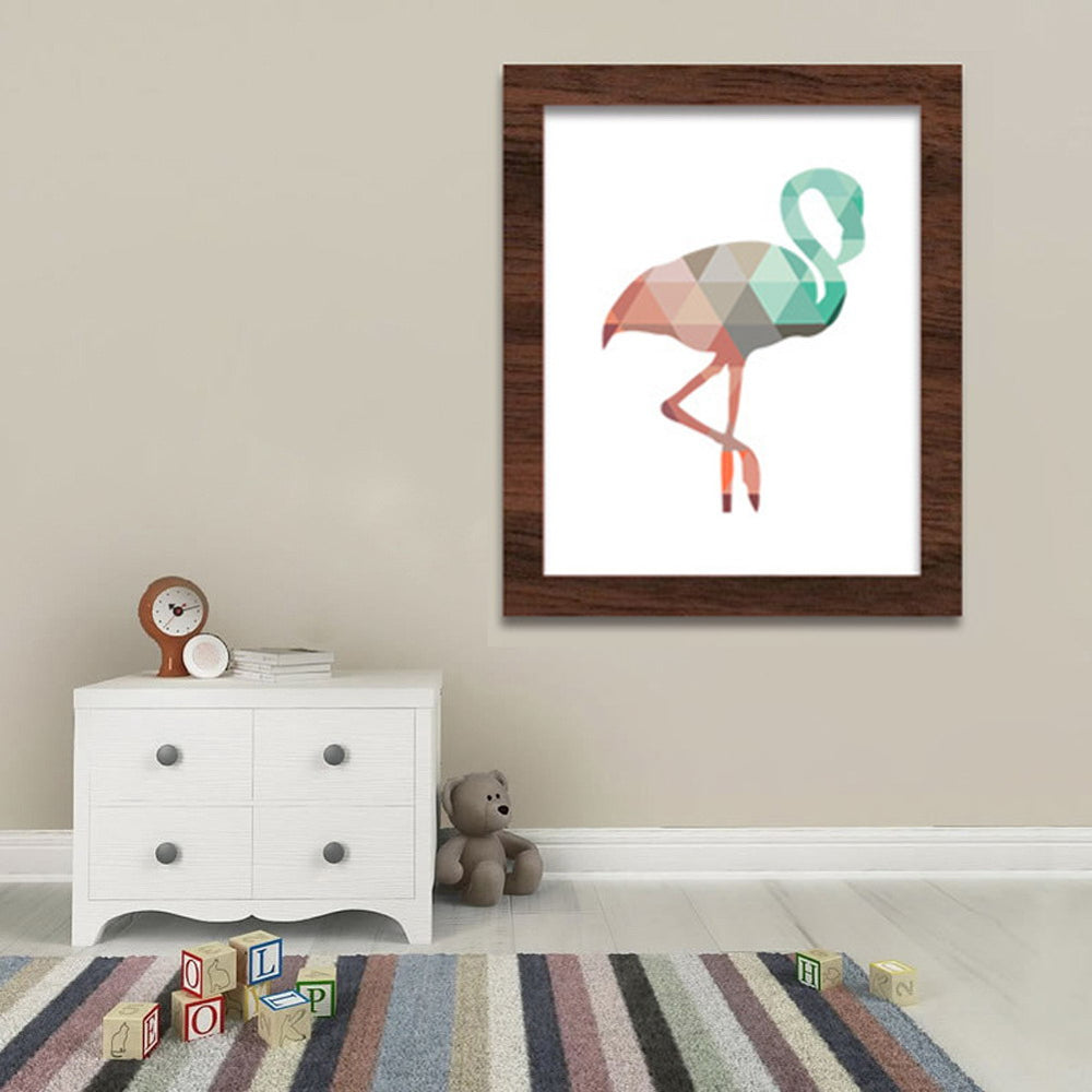 Geometric Coral Flamingo Canvas Art Print Poster Wall Pictures for Living Room Home Decoration Canvas Pictures
