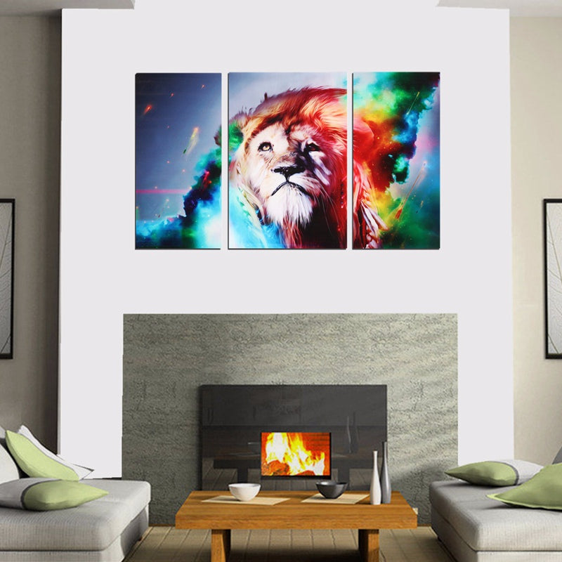 Special Offer 3pcs DIY HD Unframed Canvas Prints Colorful For Lion Modern Home Living Room Office Decor Wall Art Picture Gift