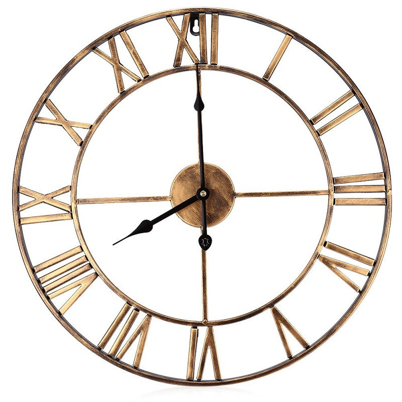 3D Iron Retro Decorative Wall Clock Big Art Gear Roman Numerals Wall Clocks Design The Clock On The Wall 18.5 Inch Oversized