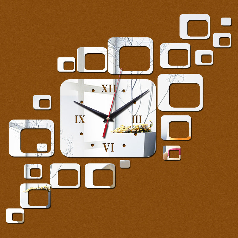 2016 new hot sale wall clock clocks home living room quartz acrylic modern decoration watch 3d stickers diy mirror free shipping