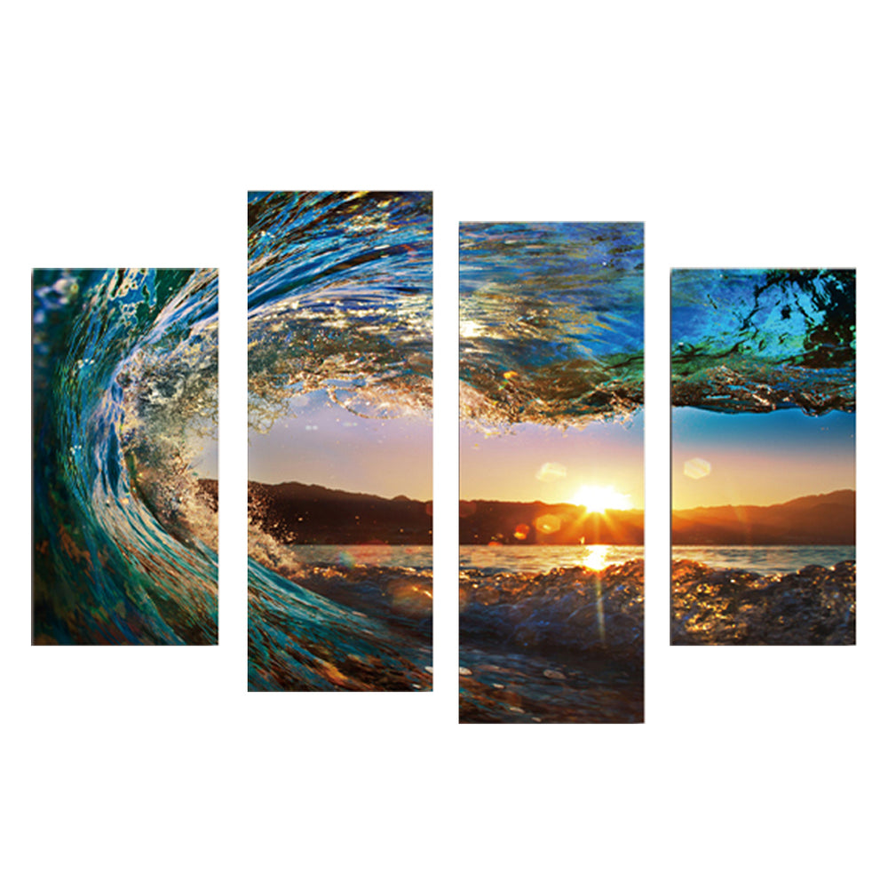 4 Panels Framed Sea wave Scenery Wall Art Pictures Print On Canvas Painting For Home Kitchen Decoration PTSP