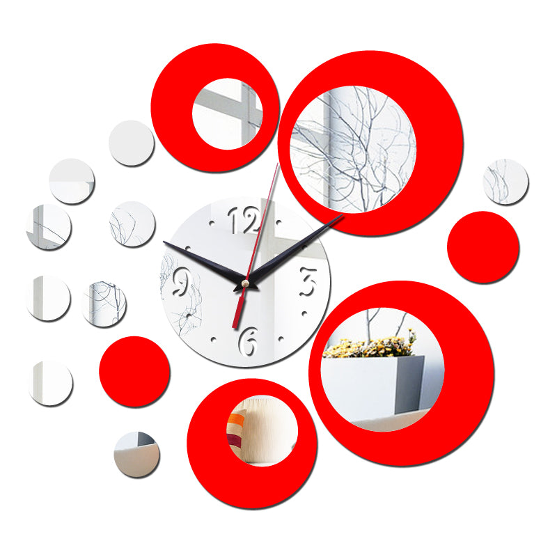2017 new wall clock modern design 3d clocks quartz watch plastic Living Room mirror Wall Sticker relogio de parede home decor