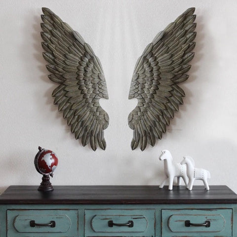 Creative Home Decor Abstract  Retro Wing Wall Sculpture Decoration Figurine Decorative Metal Wing Statue TV Background Xmas Gift