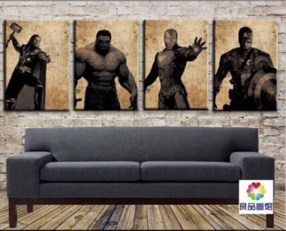 100% hand painted paintings handmade oil painting on canvas art work 4 pieces Superman modern Retro styles cheap pictures movie