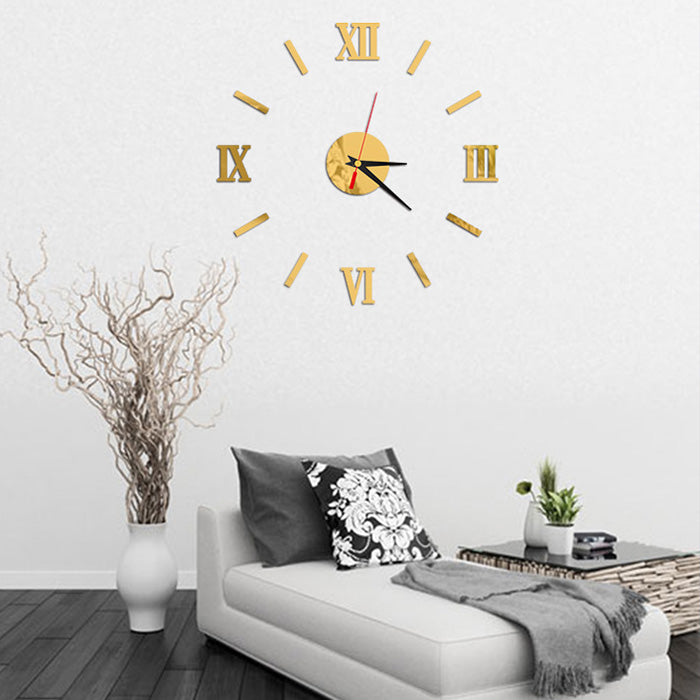 Home DIY  Wall Stickers 3D Big Clock Stickers Home Decor Quartz Watch Acrylic Mirror Clocks Wall Stickers E2S
