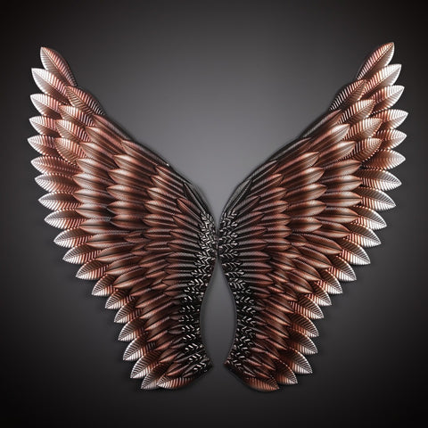 New Style Creative Home Wall Decor Abstract  Retro Wing Sculpture Decor Figurine Decorative Metal Wings Statue TV Background