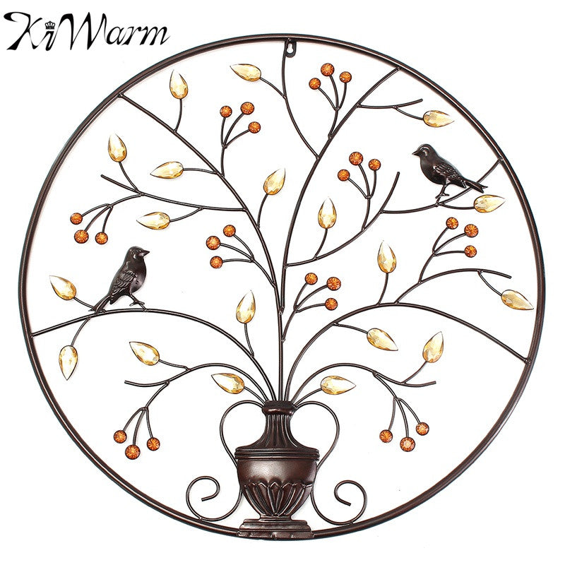 KiWarm Black Birds Tree Metal Iron Sculpture Ornament for Home Room Wall Hanging Decoration Art Crafts Gift 62cm/24.4inch
