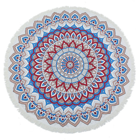 Red leaf Blue Round Mandala Beach Towel Tassel Fringing Beach Throw Round Mat Table Cloth Wall Tapestries Polyester 150x150cm