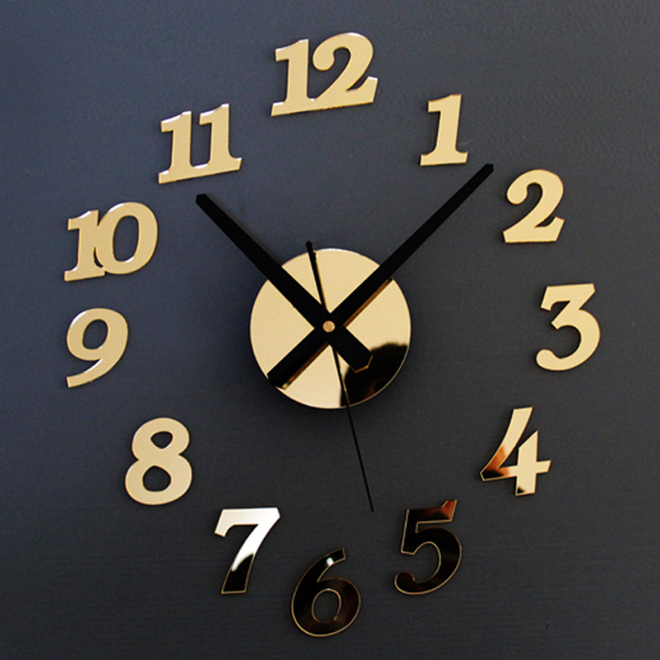 Arabic Numerals Creative Antique DIY Self Adhesive Acrylic Living Room Wall Clock Quartz 3D Digital Home Decor Retro Art Watch