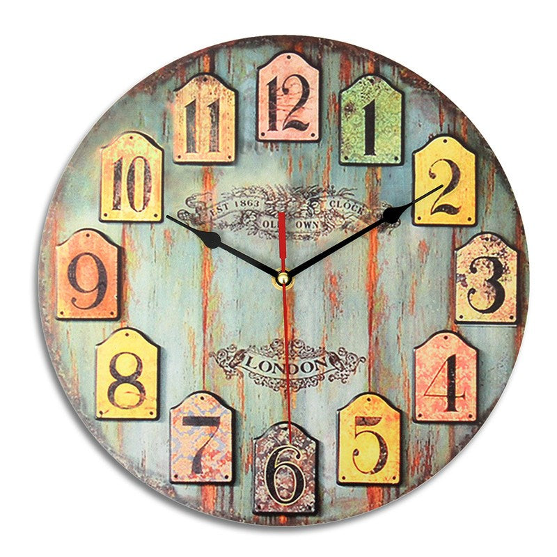 Charminer Artistic Silent Retro European Style Round Colorful Vintage Rustic Decorative Antique Wooden Home Wall Clock