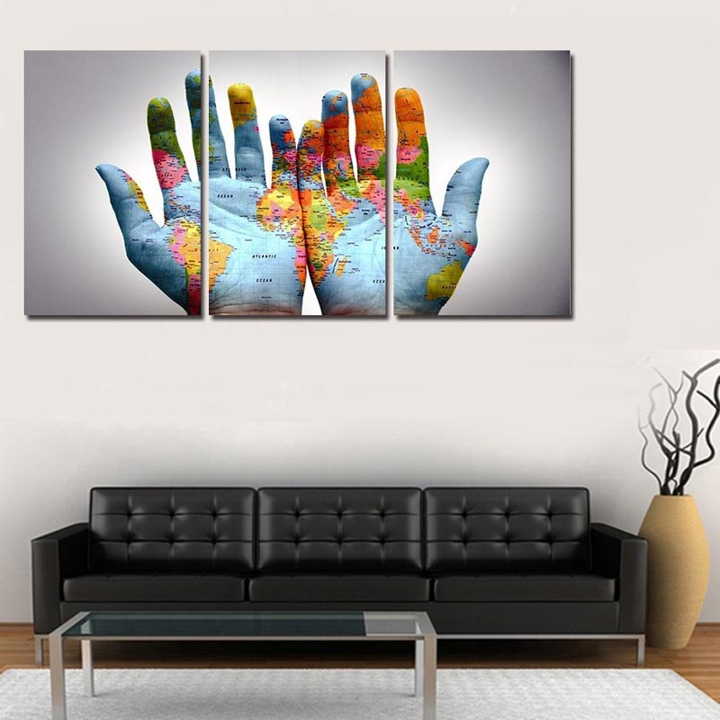 3 in 1 Modern Art  Panel Creative Painting Palm World Map Picture Print Gift Painting Morden Home Wall Decor  E2S
