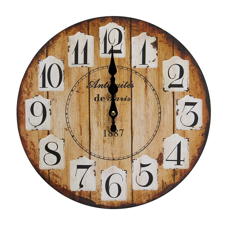 Charminer Modern Design Wooden Wall Clock Owl Vintage Rustic Shabby Chic Home Office Cafe Decoration