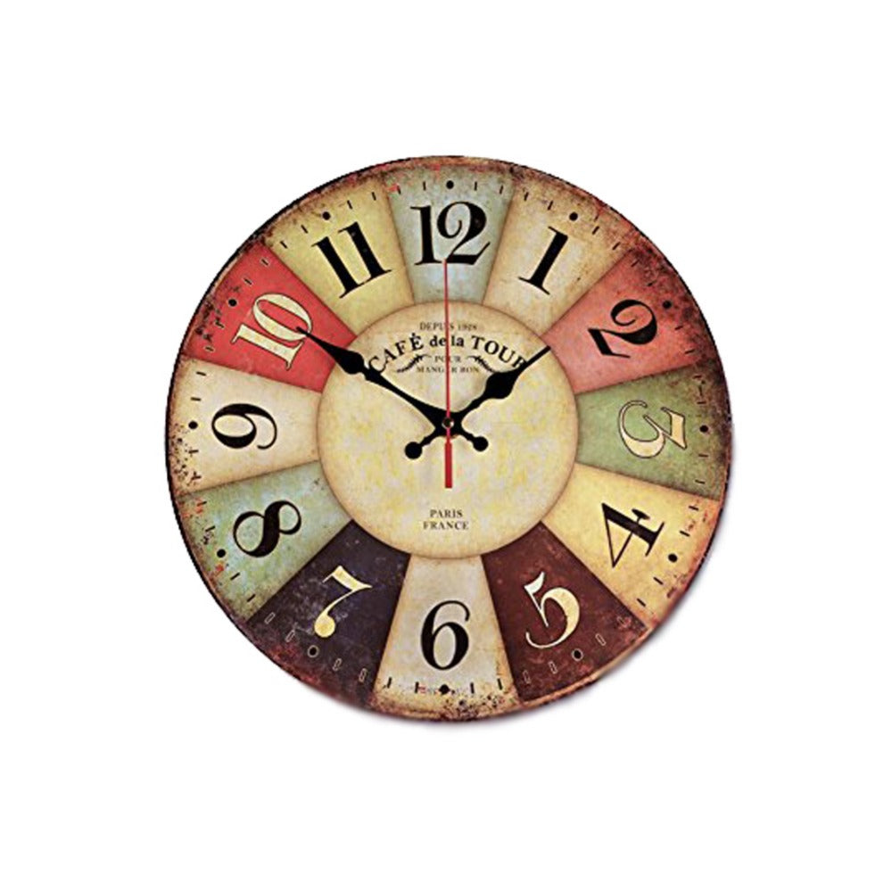 Wall clocks modern wall art online store round vintage paris creative wood wall clock colorful french country tuscan style amipublicfo Choice Image