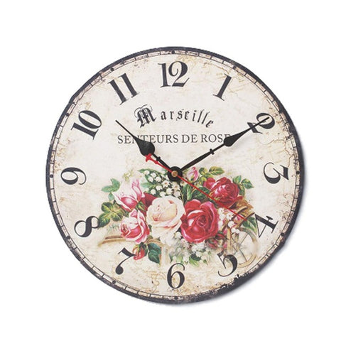 Round Vintage Paris Creative Wood Wall Clock, Colorful French Country Tuscan Style