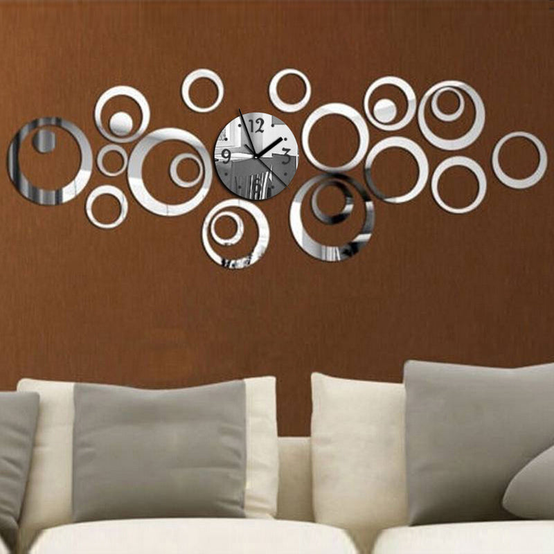 2017 new quartz wall clock diy acrylic mirror 3d stickers needle living room modern watch reloj de pared horloge free shipping