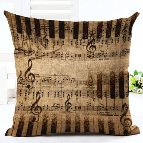 Music Series Note Printed Cotton Linen Decorative Pillow Case Seat 45*45cm Pillowcase Drop Shipping