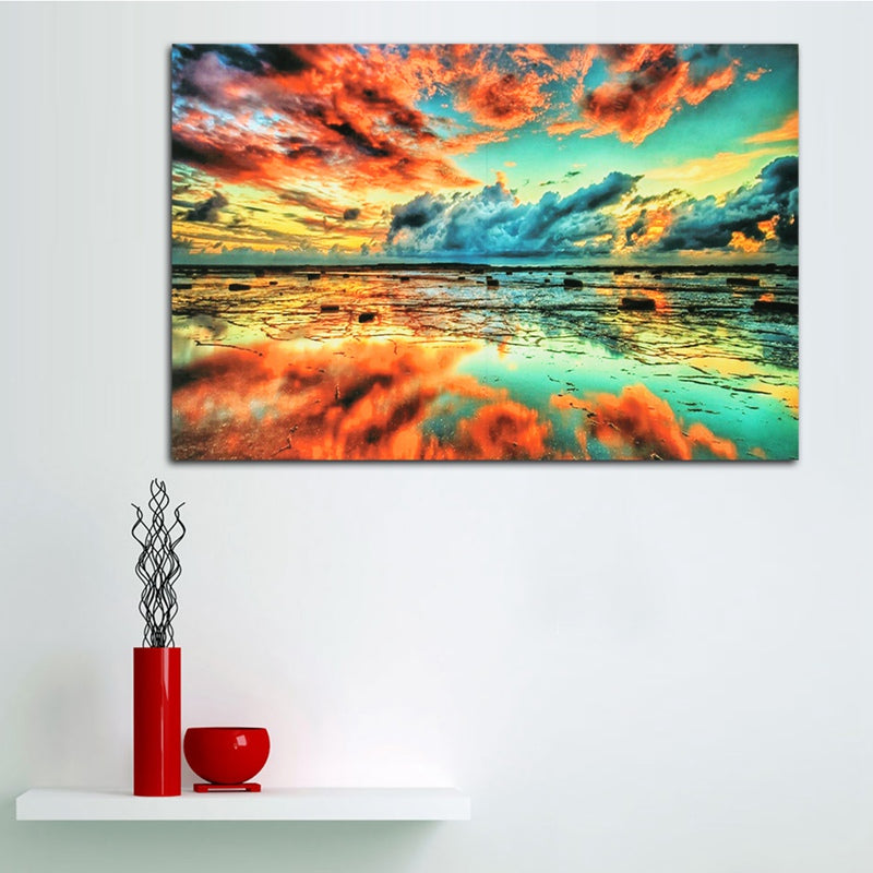 1Pc Elegant Framless Sunset Sea Beach Painting Landscape Printing Art Silk Cloth Posters Home Decor  90x60cm