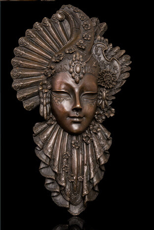 Copper Brass CHINESE crafts ation Asian Abstract conventional bronce peacock mask statue sculpture metal wall art figures cast