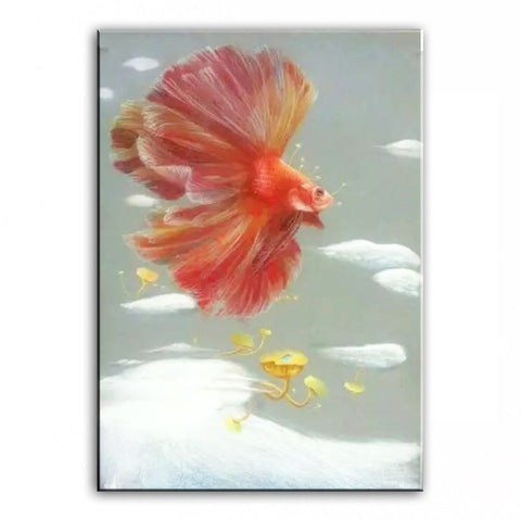 Original oil painting Dancing goldfish painter original paintings decoration painting Custom-made oil painting 16110705
