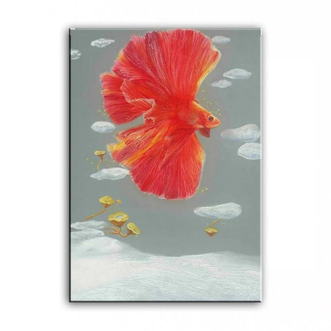 Original oil painting Dancing goldfish painter original paintings decoration painting Custom-made oil painting 16110709