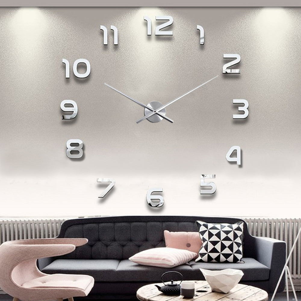 Digital Creative DIY Wall Stickers clock 3D Stereoscopic Mirror Clock Modern Design,Large Size Wall Clocks.DIY Wall Sticker