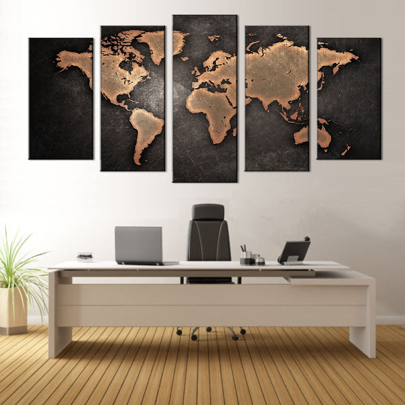 5 Pcs/ Set Home Art World Map Wall Hanging Painting Modern Abstract Canvas Printed Picture for Living Room Home Decor E2S