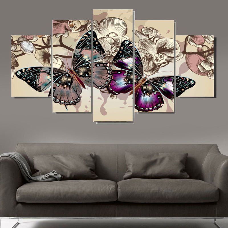 5Pcs/Set Home Art Abstract Painting Canvas Butterflies Printed Wall Art Pictures Office Building Hotel Corridor E