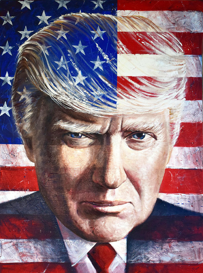 "Art Painting- American Flag USA 45th president Donald Trump portrait oil painting -100% hand painted WORK- 36"" inches"