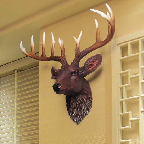 retro copper wall mural wall Home Furnishing deer pendant animal head Bar Decor Shoutou special offer sculpture statue estatua